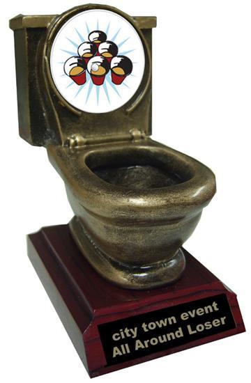 Resin Beer Pong Toilet Trophy