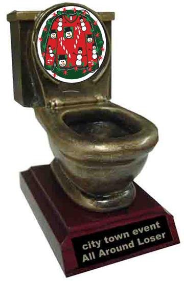 Ugly Christmas Sweater Toilet Trophy