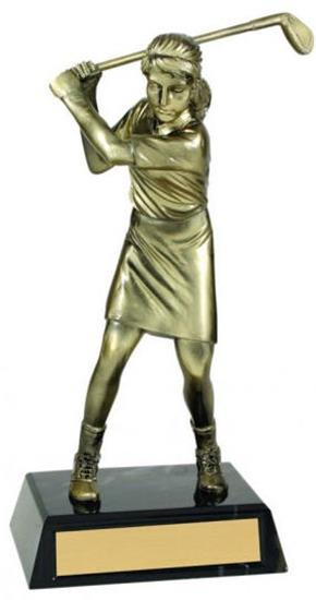 Female Golf Metallic Trophy