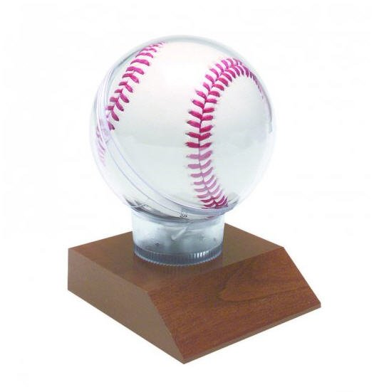 Baseball Display Case with Cherry Base