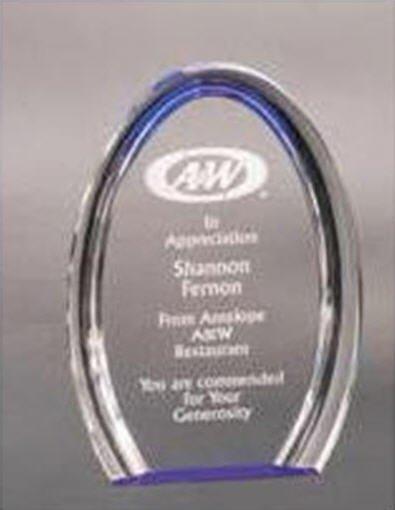 Acrylic Blue Oval Award