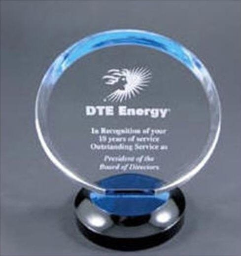 Round Blue Halo Acrylic Award