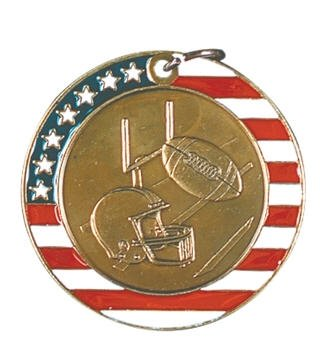 Football Red White and Blue Medal