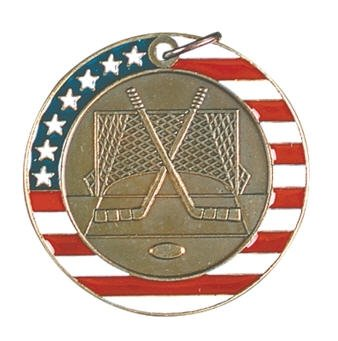 Hockey Red White and Blue Medal