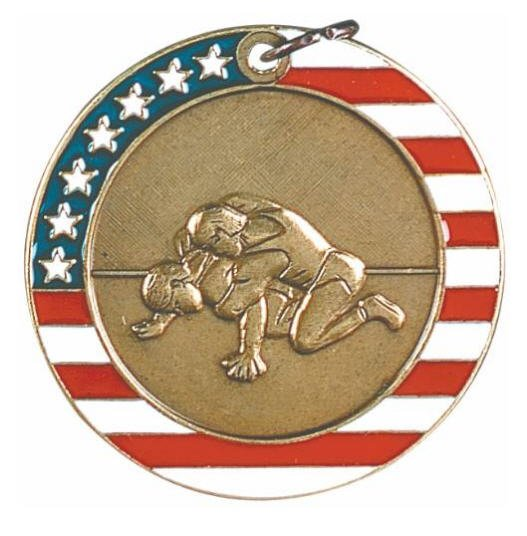 Wrestling Red White and Blue Medal