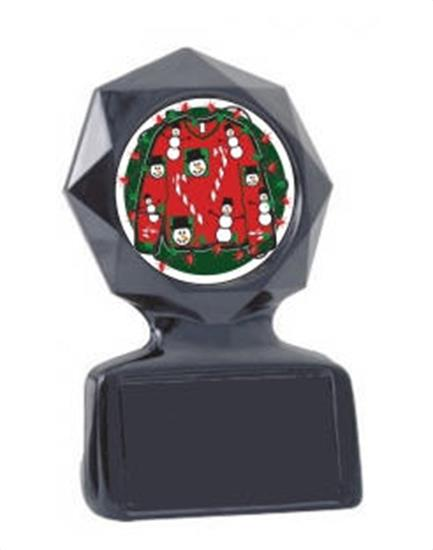 Ugly Christmas Sweater Black Star Trophy