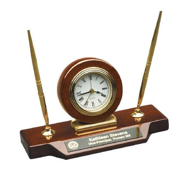 Desk Clock on Base with Pens