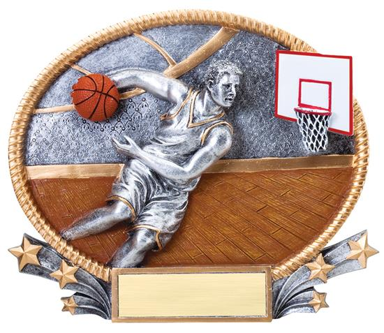 Male Basketball Small 3D Oval Trophy