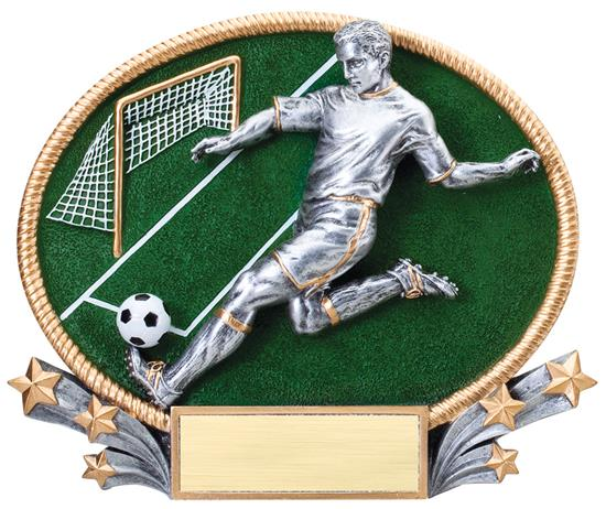 Male Soccer Trophy Small 3D Oval