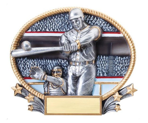 Baseball Player 3D Oval Trophy