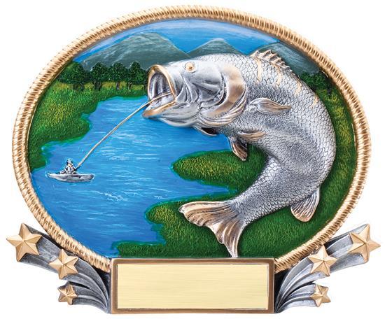 Fishing 3D Oval Trophy