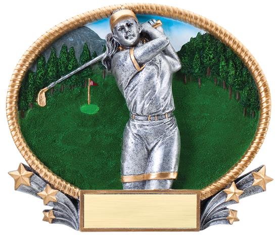Female Golf 3D Oval Trophy