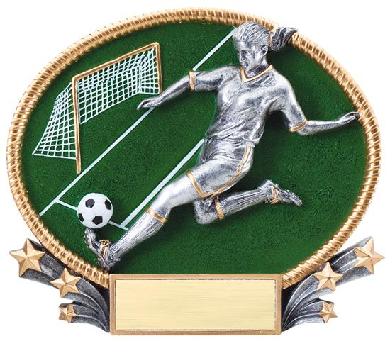 Female Soccer 3D Oval Trophy