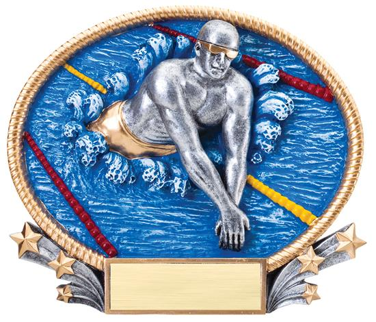 Male Swimming 3D Oval Trophy