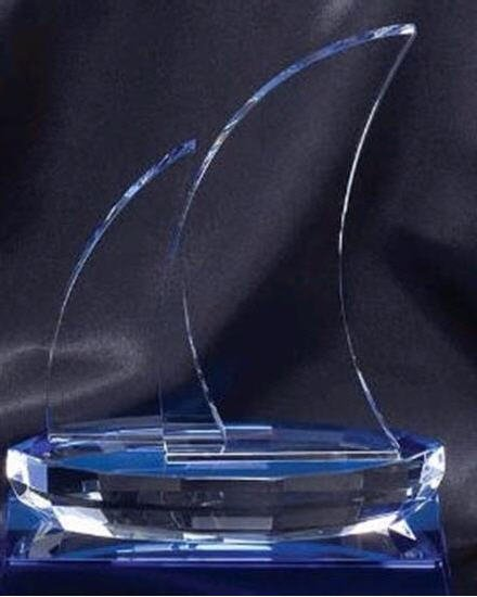 Blue Sailboat Crystal Award