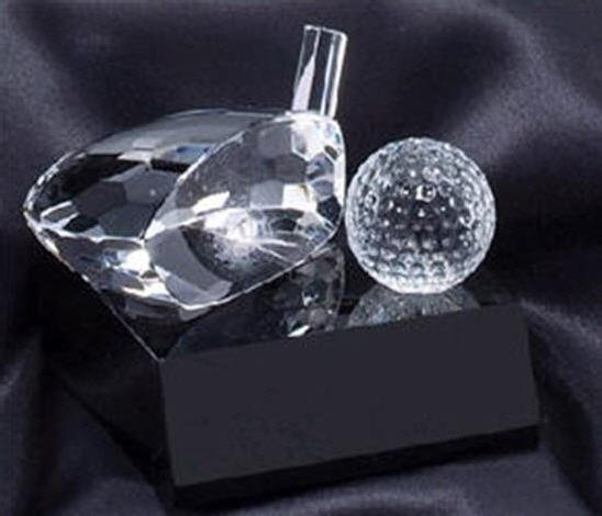 Golf Club and Ball Crystal Award