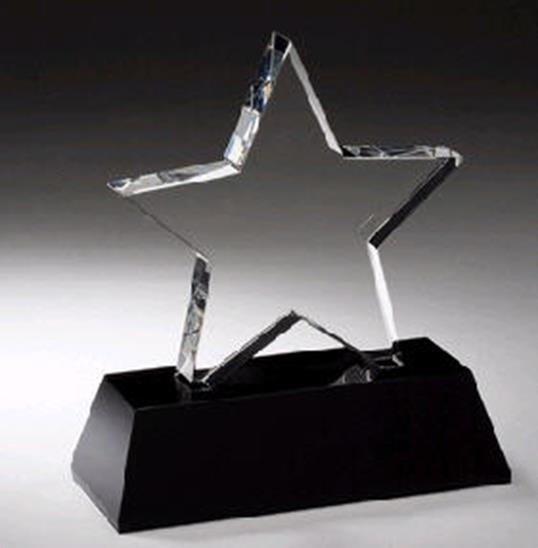 Crystal Star Black Pedestal Award