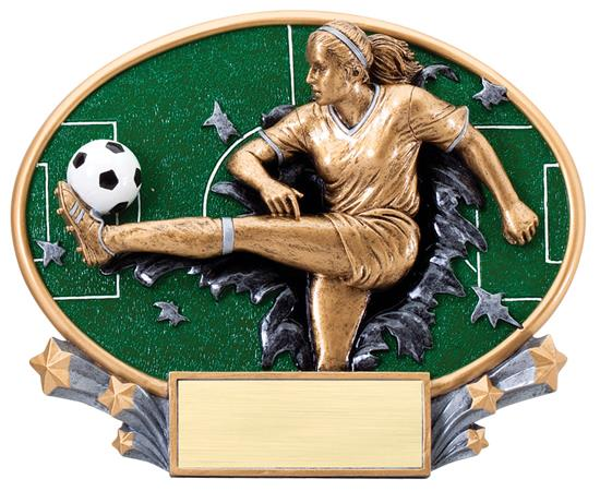 Female Soccer Explosion Oval Trophy