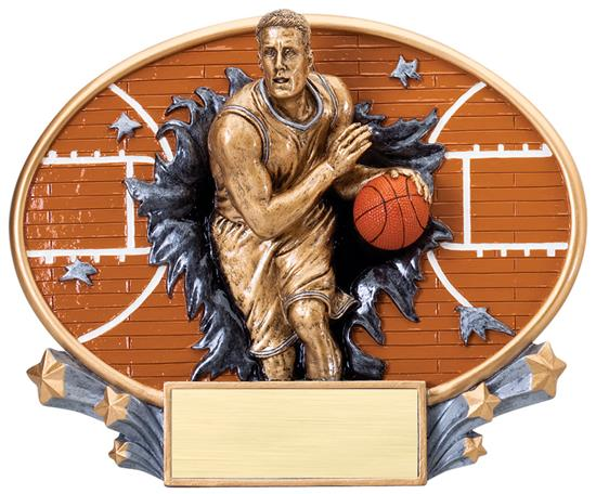 Male Basketball Explosion Oval Trophy