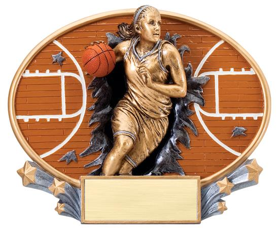 Female Basketball Explosion Oval Trophy