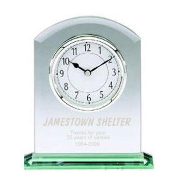 Jade Glass Arched Clock