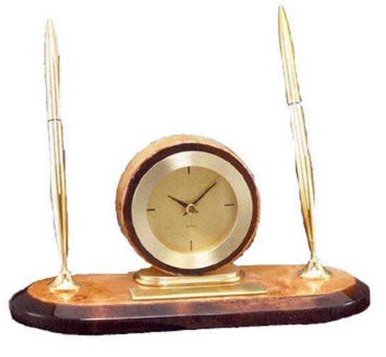 Burlwood Clock Desk Set
