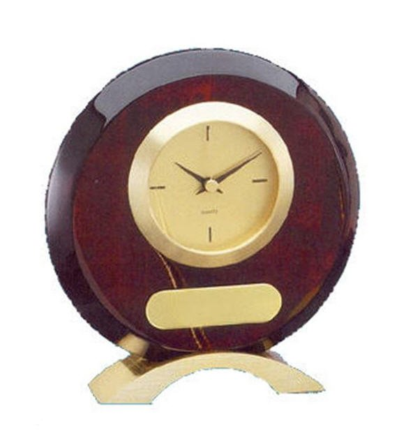 Rosewood Round Desk Clock