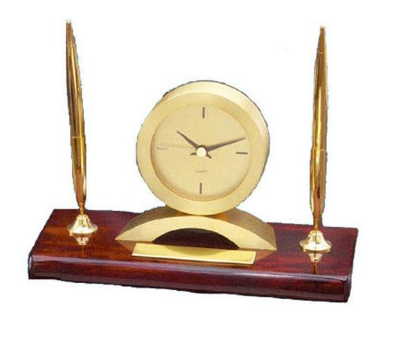 Rosewood Desk Clock with Pens