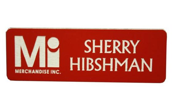 Name Tags Red on White With Round Corners