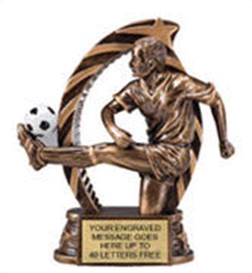 Soccer Male Star Flame Resin Trophy 5.5 Inches