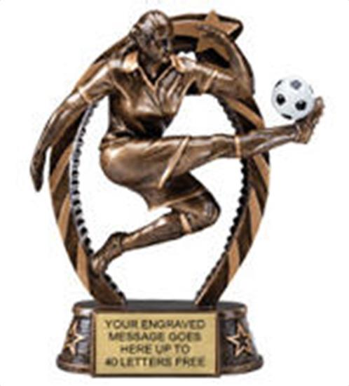 Soccer Female Star Flame Resin Trophy 7.5 Inches