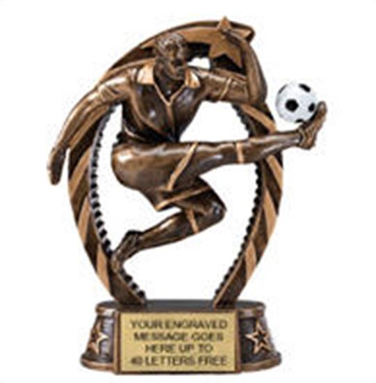 Soccer Male Star Flame Resin Trophy 7.5 Inches