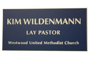 Name Tags Blue on White With Square Corners