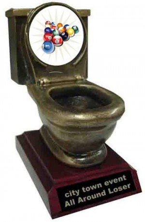 Resin Billiard 2 Toilet Trophy