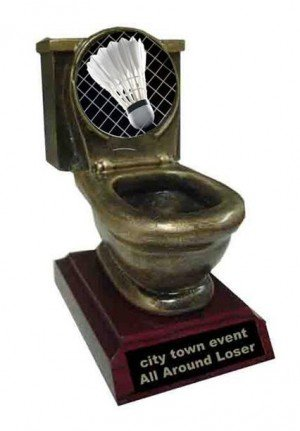 Resin Badminton Toilet Trophy