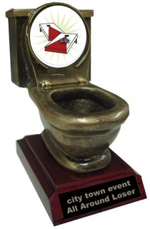 Resin Cornhole Toilet Trophy
