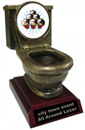 Resin Beer Pong Toilet Trophy