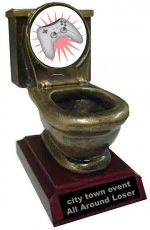 Resin Video Game Toilet Trophy