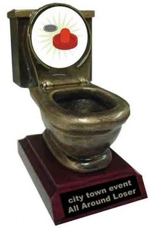 Air Hockey Toilet Trophy