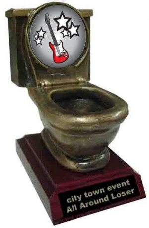 Electric Guitar Toilet Trophy