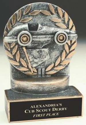 Pinewood Derby 4 1/4 Inch Resin Trophy