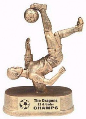 Male Soccer Kick Resin Trophy