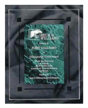 Clear Acrylic Green Marble Plaque