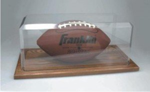 Acrylic Football Case with Oak Base