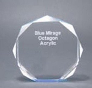 Self Standing Blue Acrylic Octagon Award