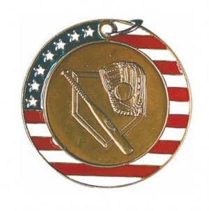 Baseball Red White and Blue Medal