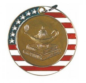 Lamp of Knowledge Red White and Blue Medal