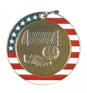 Soccer Red White and Blue Medal