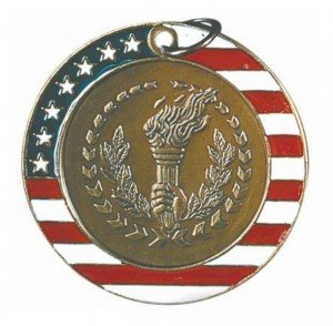 Torch Red White and Blue Medal