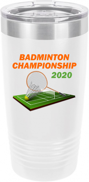 Customized Badminton Tournament Polar Camel 20 oz.  Ringneck Vacuum Insulated Tumbler w/Clear Lid LTM7214